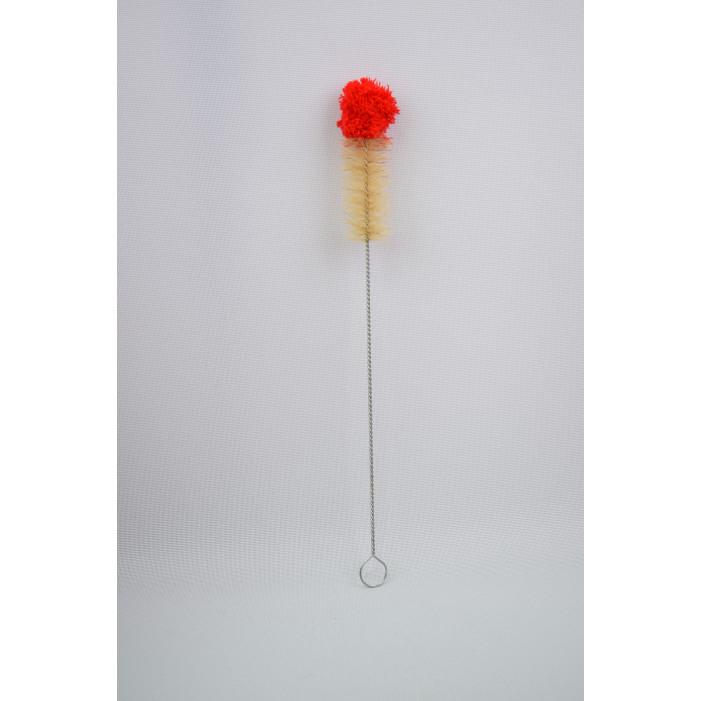 Щетка для колбы Kaya Cleaning Brush with Woolen Top, 50cm red/ecru оптом - 27156