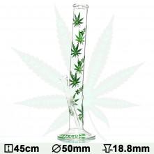 Бонг стеклянный Green XXX Amsterdam Leaf - H:45cm- Ø:50mm